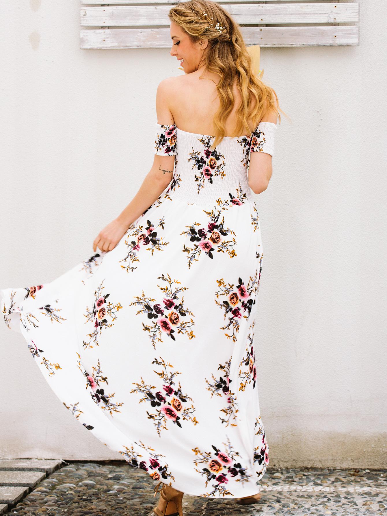 Vestido de gasa de hombro estampado sexy en general ropa de mujer de moda NHDE189487