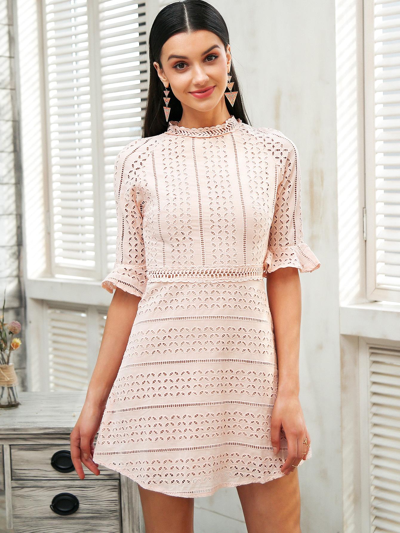 Dulce dama de media manga vestido rosa ropa de mujer al por mayor NHDE189500