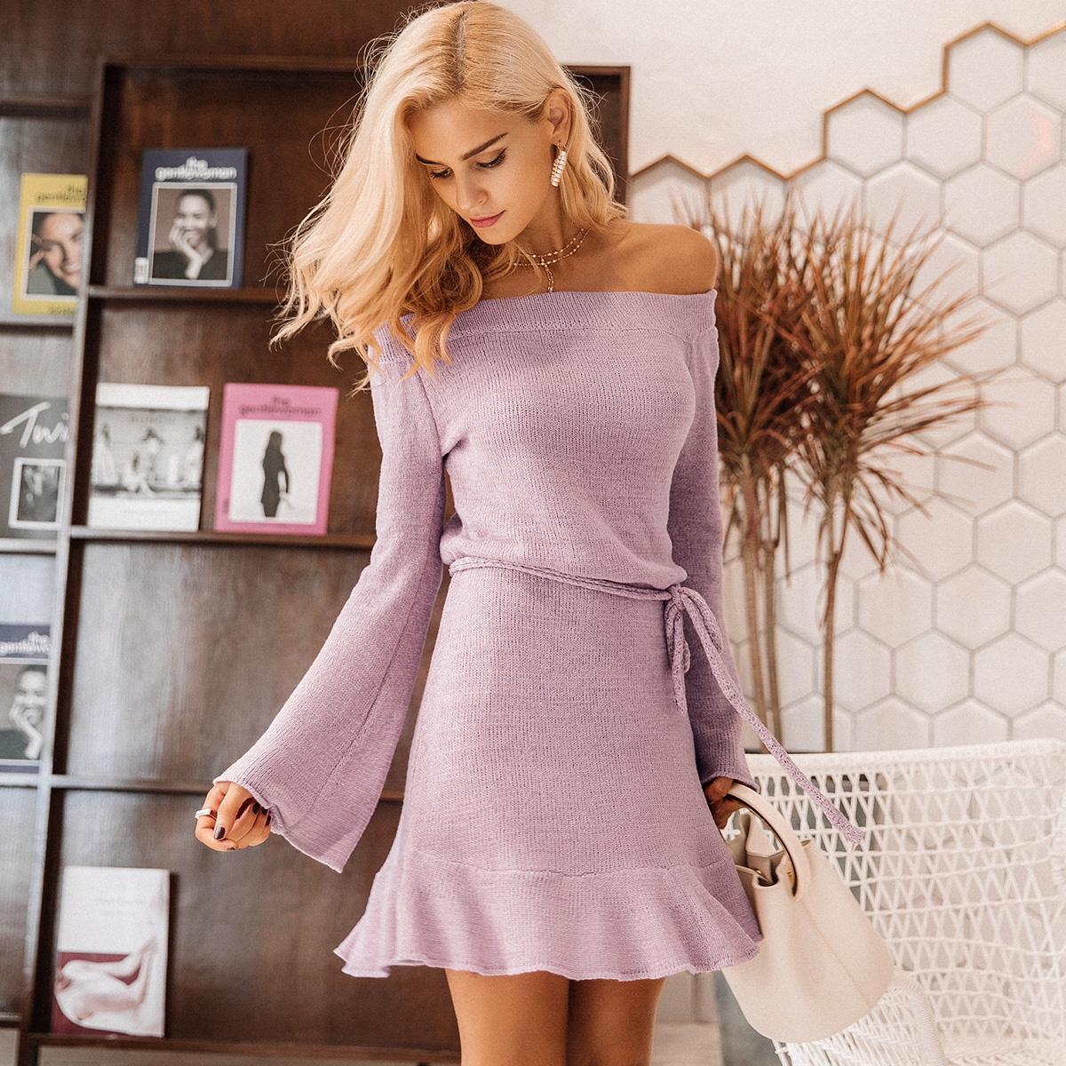 Vestido de hombro de palabra verde púrpura ropa de mujer de moda por mayor NHDE189534