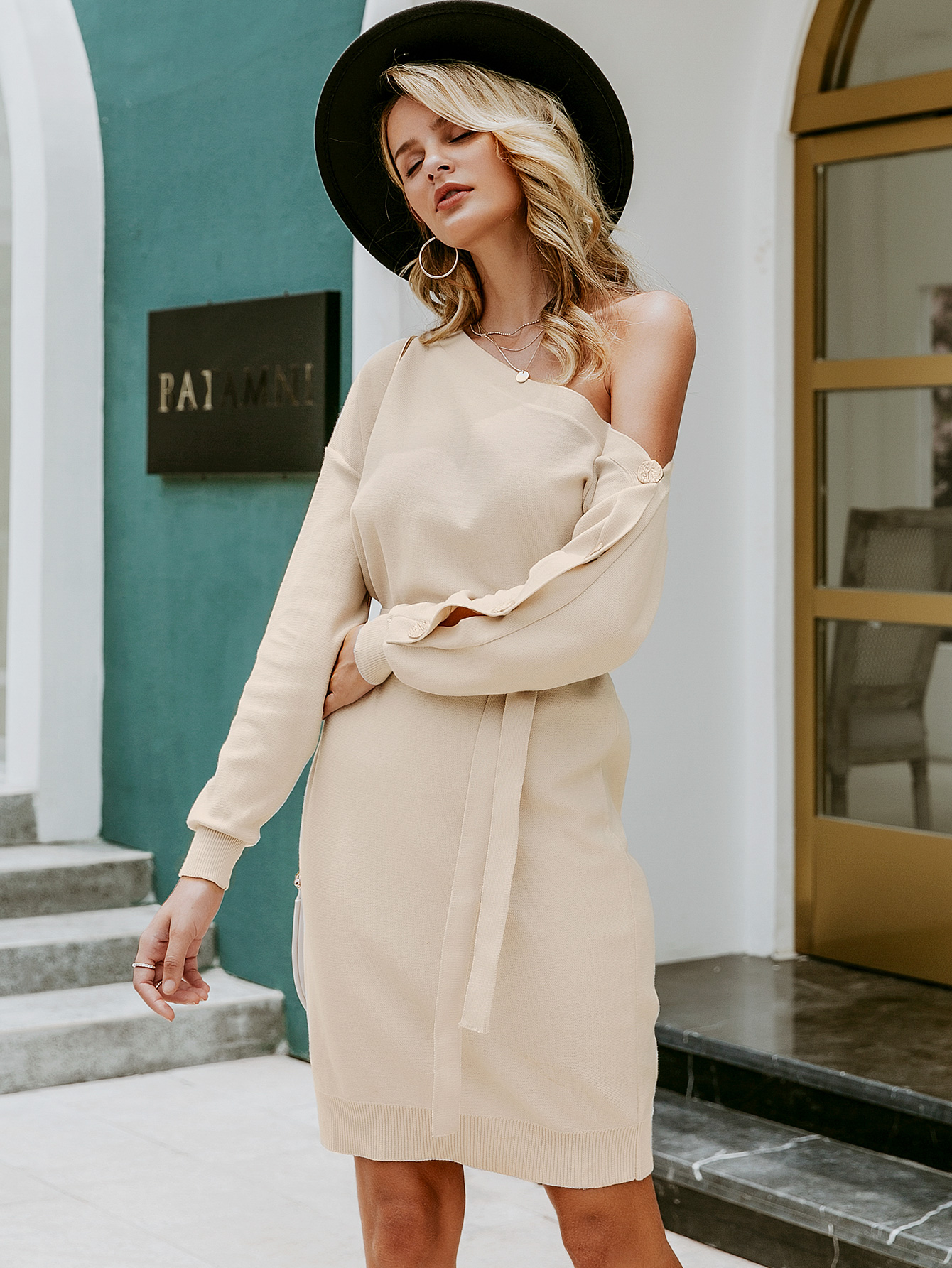2019 new off-the-shoulder sweater skirt fashion women's wholesale NHDE190179