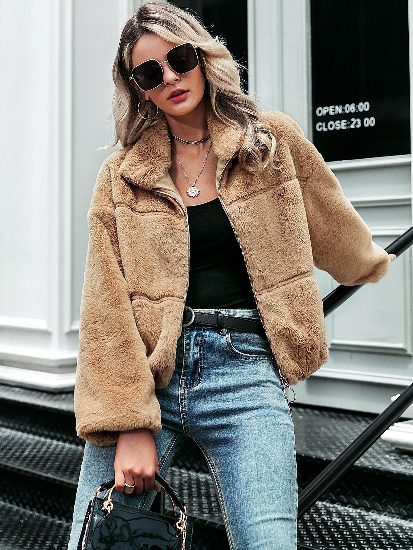 2019 new brown plush coat fashion women's wholesale NHDE190194