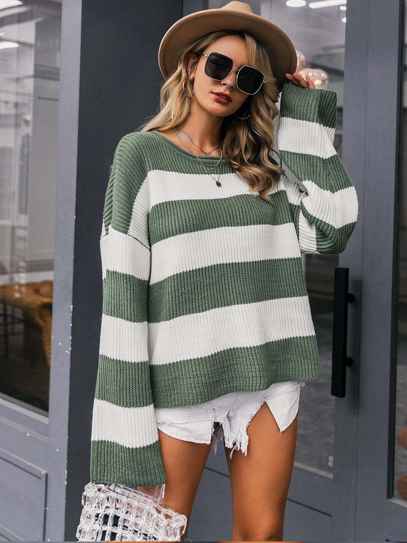2019 new round neck striped sweater fashion women's wholesale NHDE190208