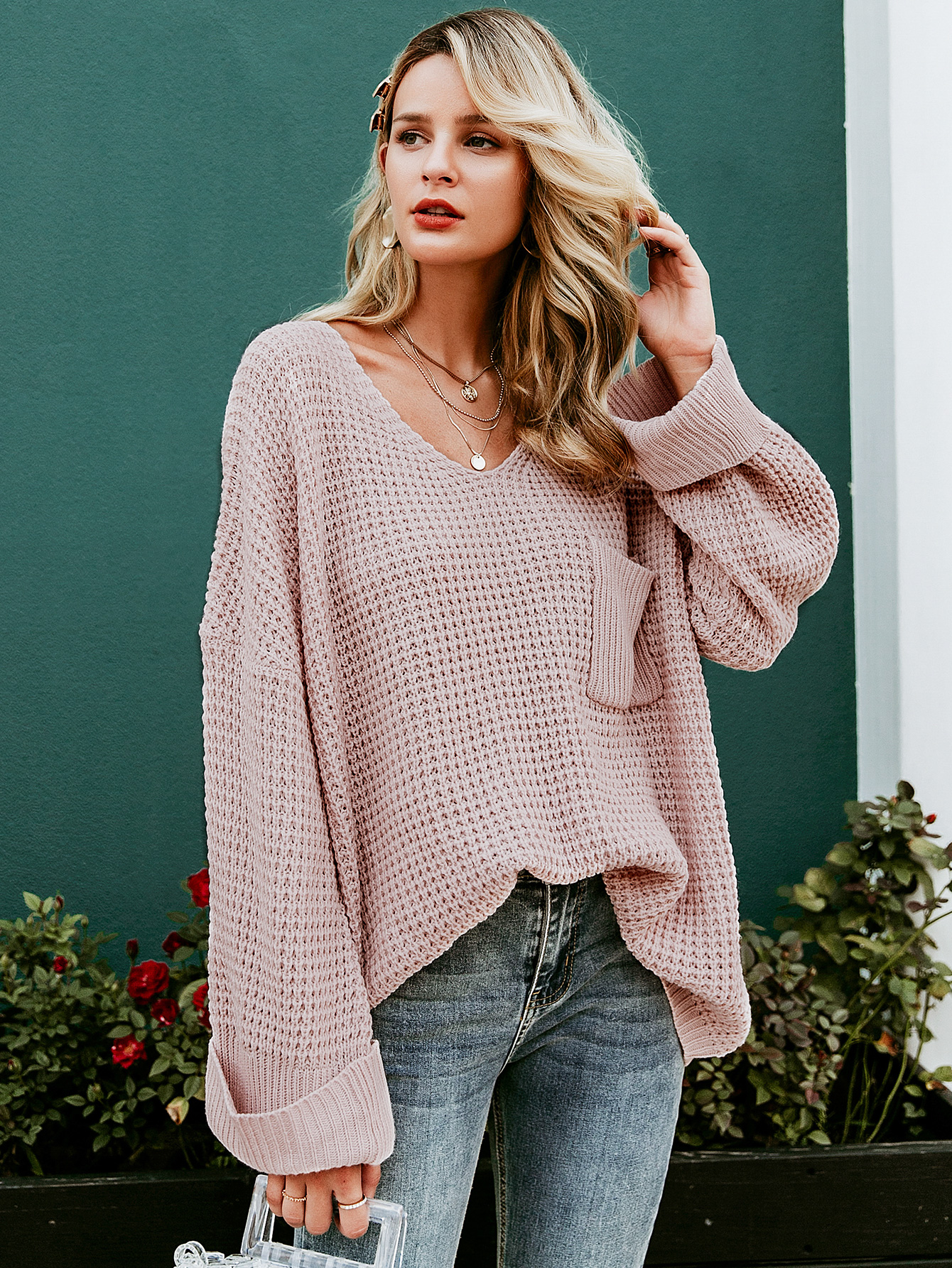 2019 New V-neck Loose Sweater Fashion Women Wholesale NHDE190219