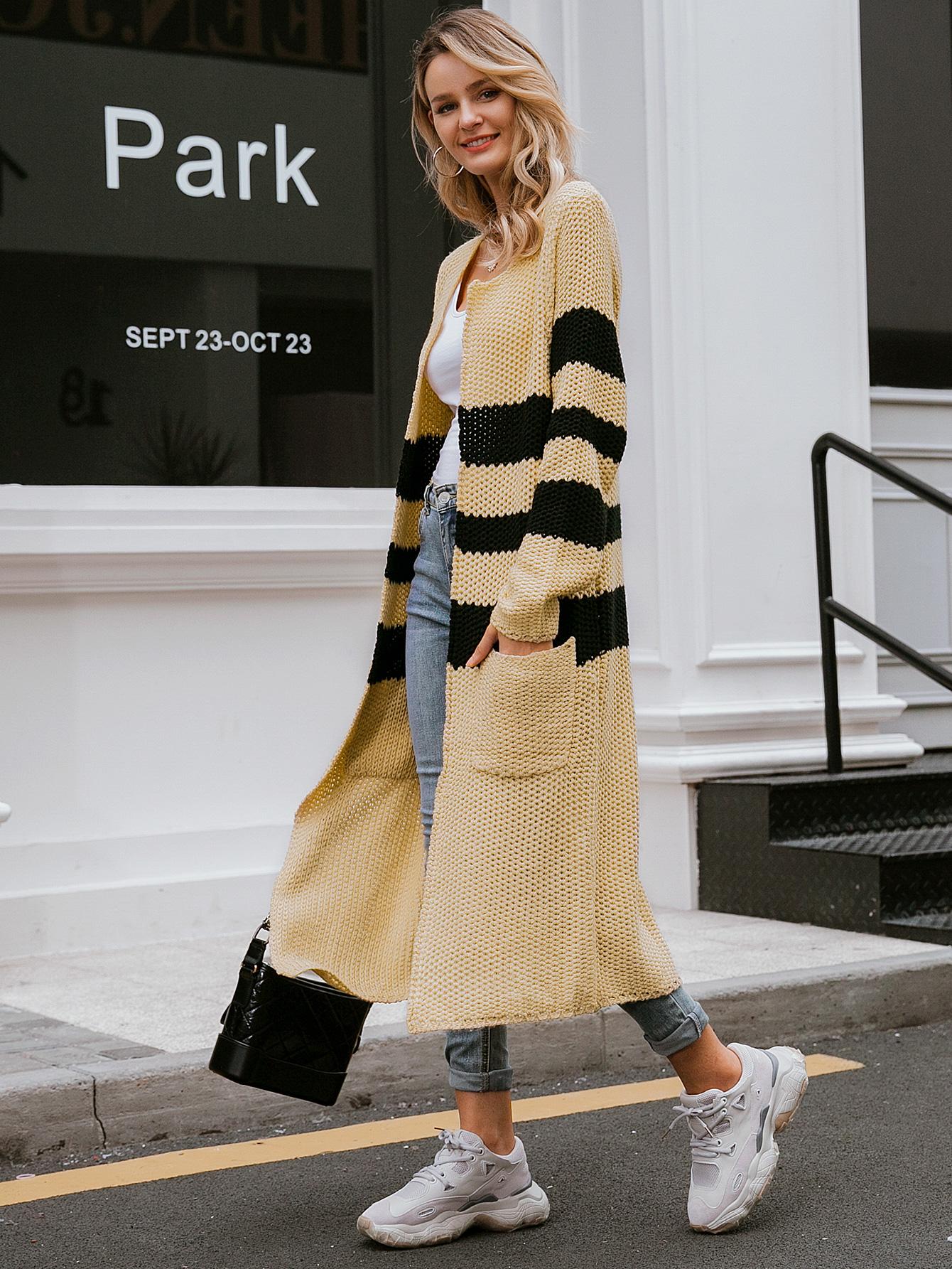 Abrigo largo de punto tricolor al por mayor ropa de mujer NHDE191372