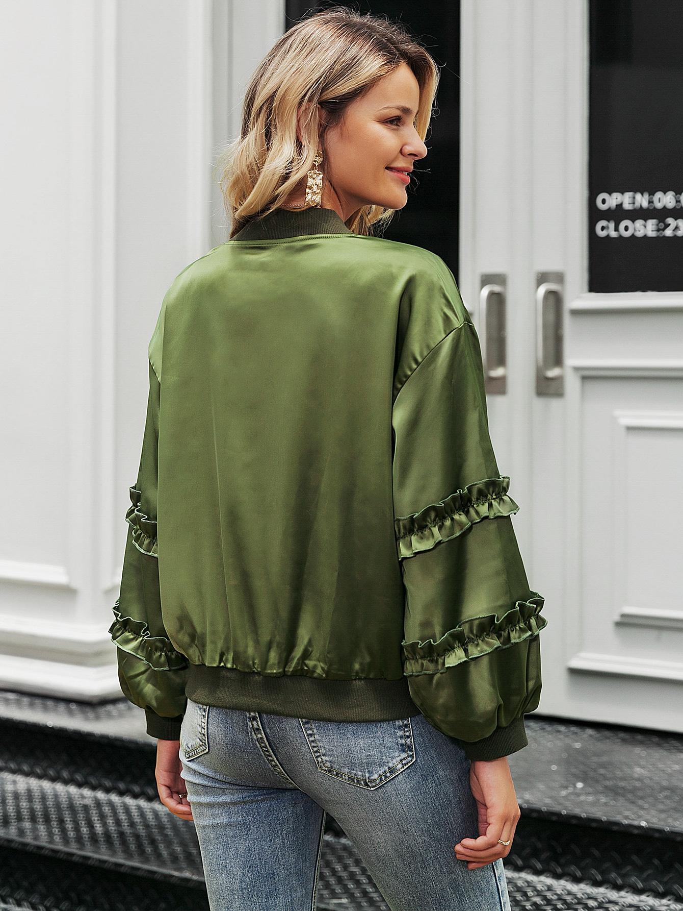 Abrigo de satén verde militar de moda al por mayor ropa de mujer NHDE191379