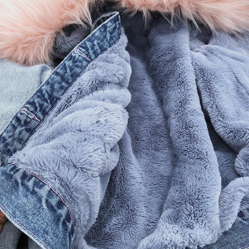 Large fur collar denim casual coat wholesale women's clothes NHMI191459