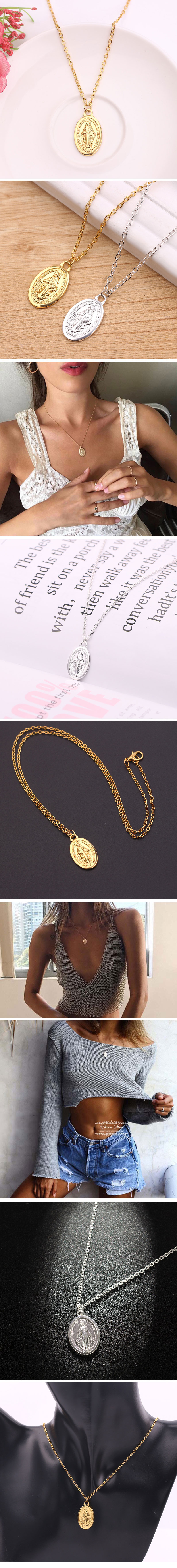Alloy vintage golden virgin mary tag necklace NHSC194567