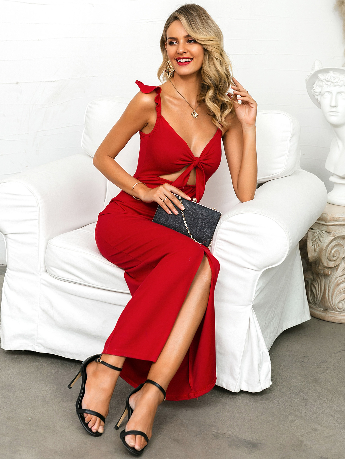 Sexy red V-neck dress wholesale fashion women's clothing NHDE195756