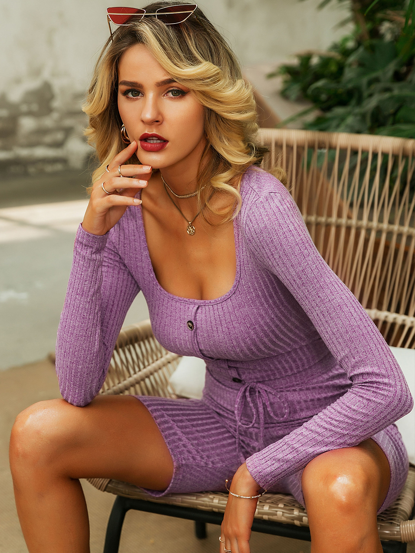 Sexy purple knitted top shorts suit wholesale fashion women's clothing NHDE195758