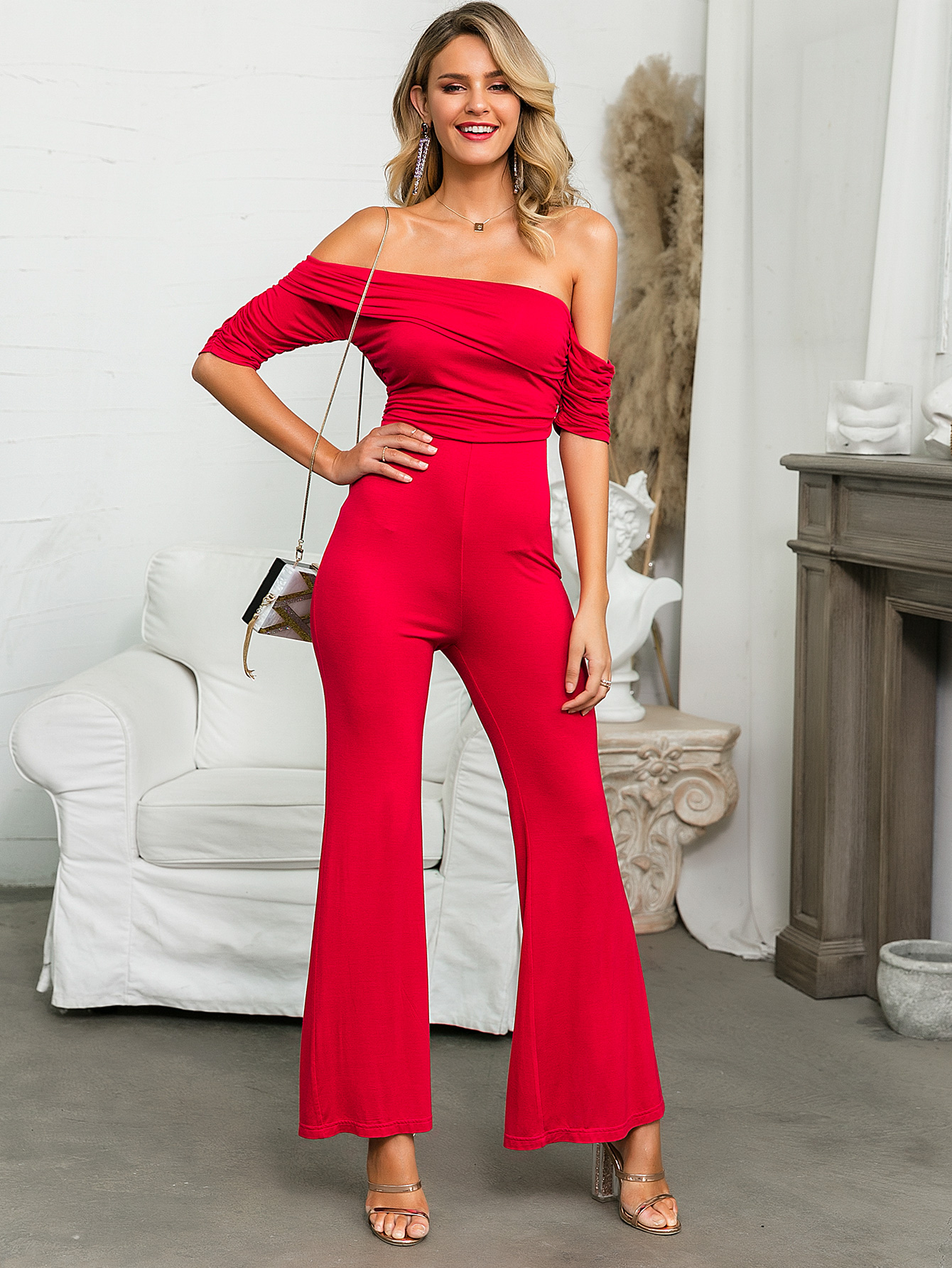 Sexy rose color shoulder jacket jumpsuit wholesale fashion women's clothing NHDE195773