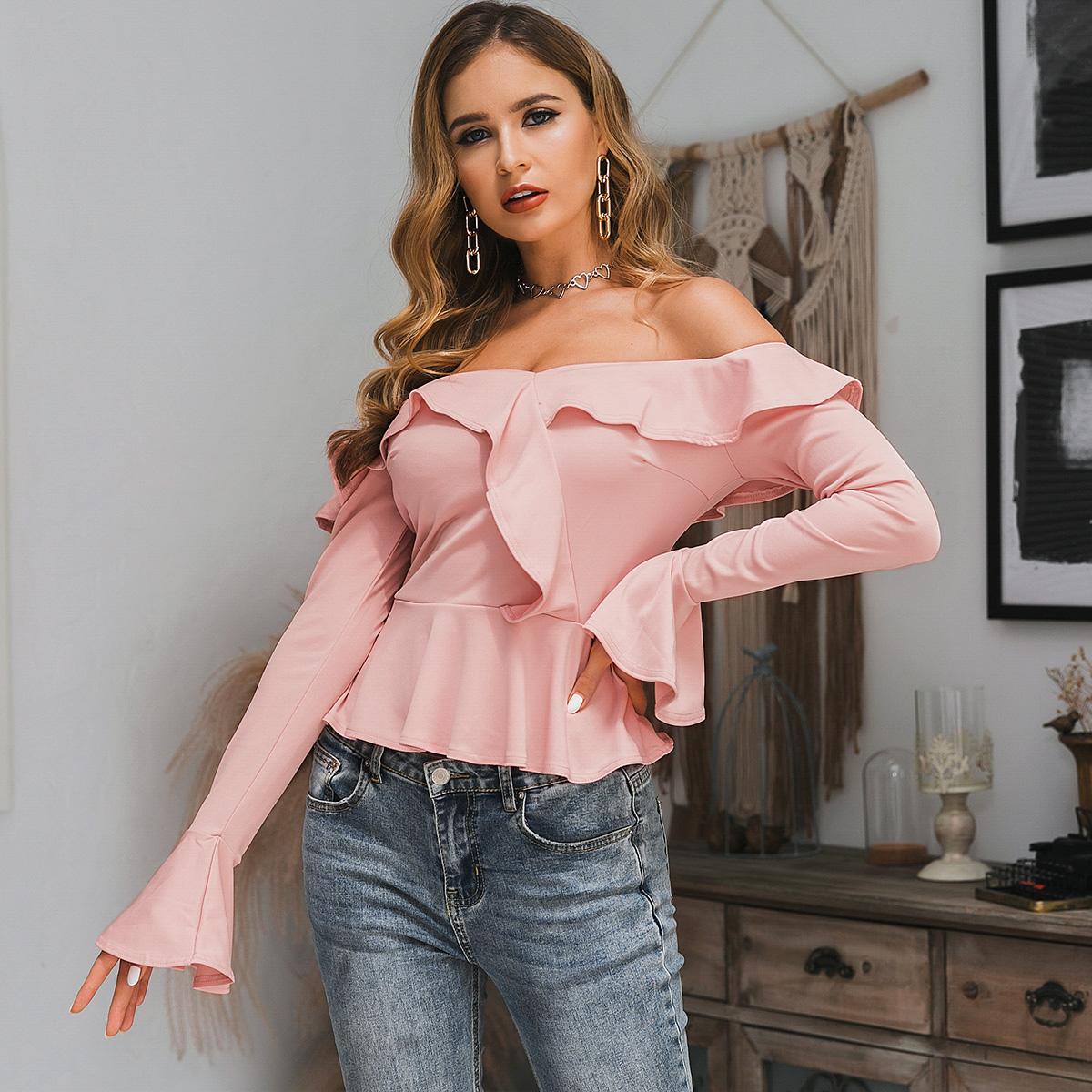 Off-shoulder shirt long sleeve light pink wholesale fashion women's clothing NHDE195774