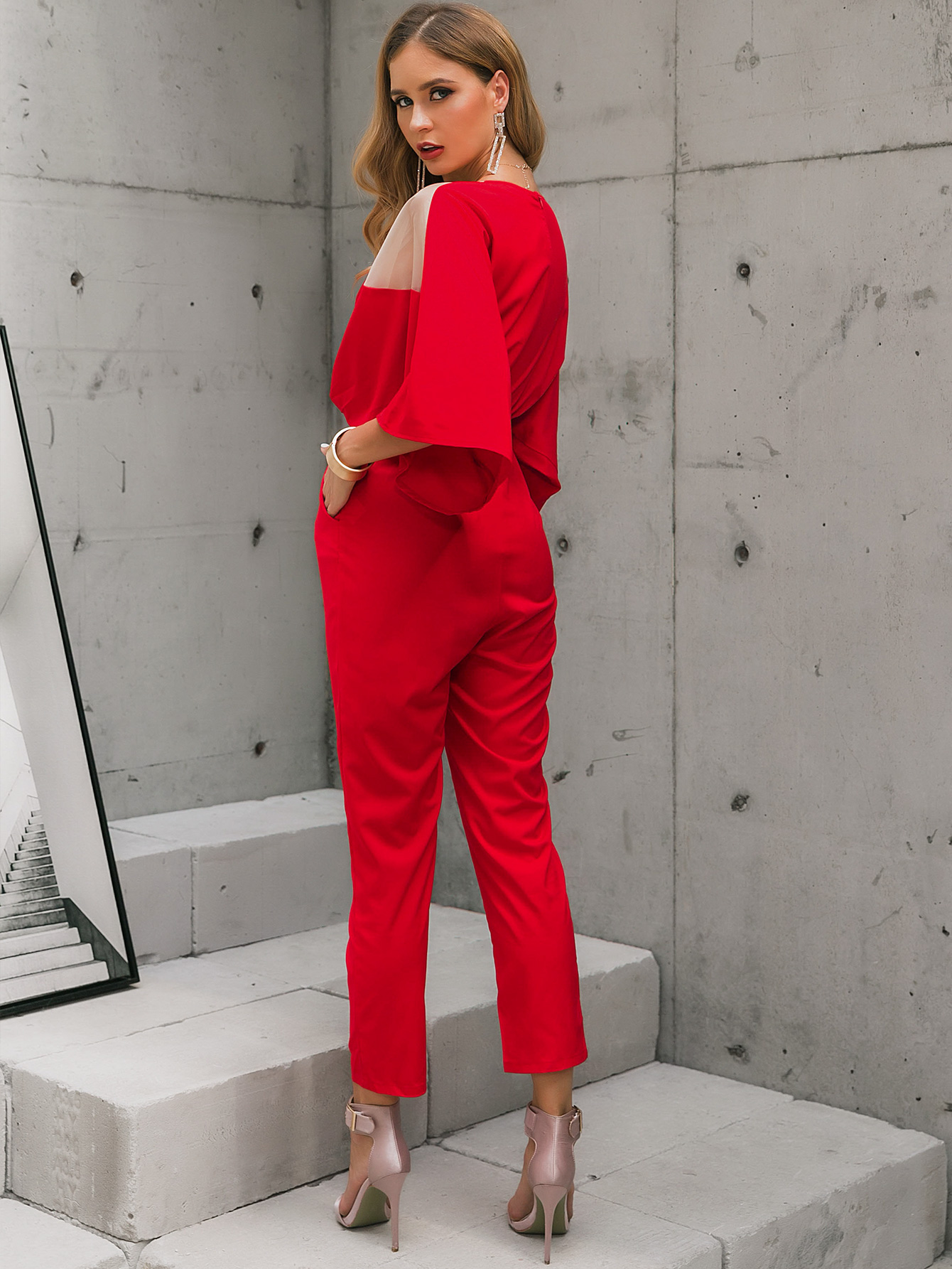 chic red bubble sleeve top jumpsuit suit wholesale fashion women's clothing NHDE195780