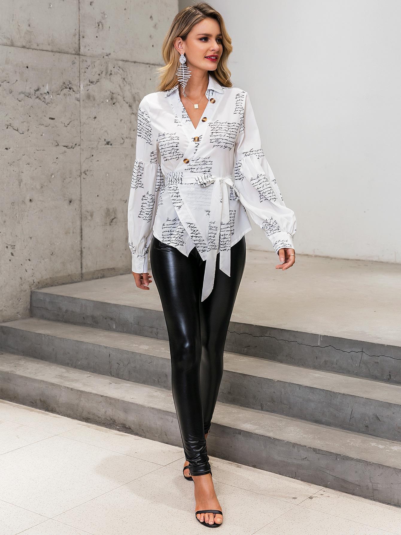 White V-neck Puff Sleeve Lace Shirt Blouse Wholesale Fashion Women's Clothing NHDE195813