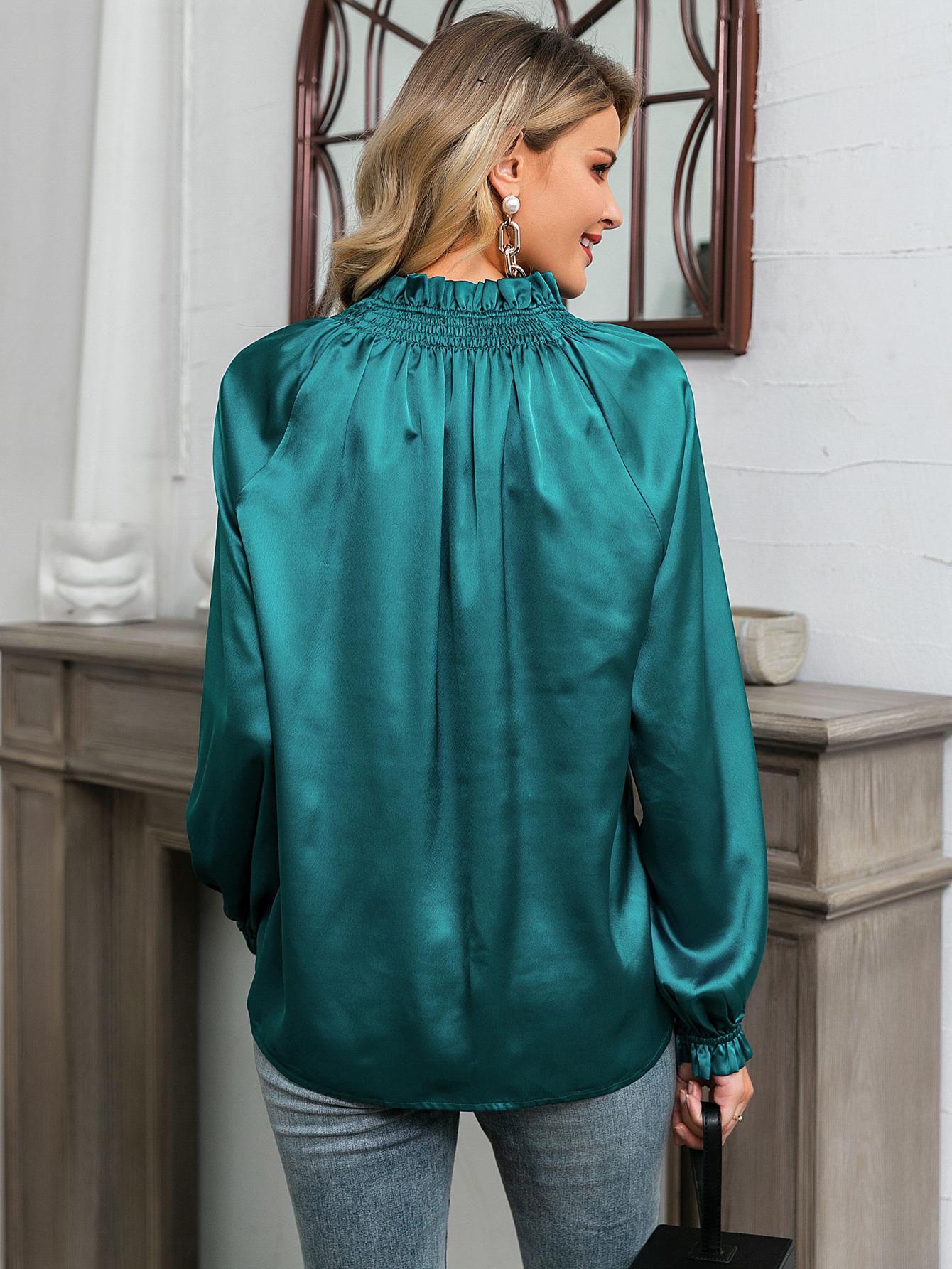 Blue satin long sleeve shirt blouse wholesale fashion women's clothing NHDE195817