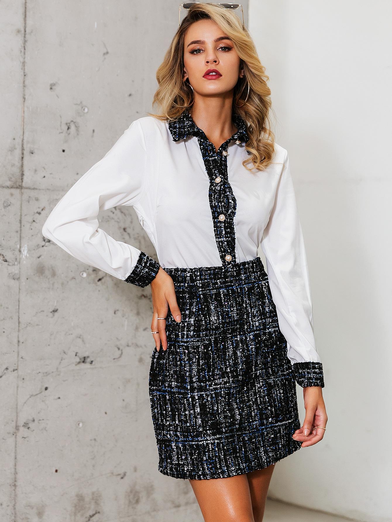 Black sweet commuter shirt skirt wholesale fashion women's clothing NHDE195827