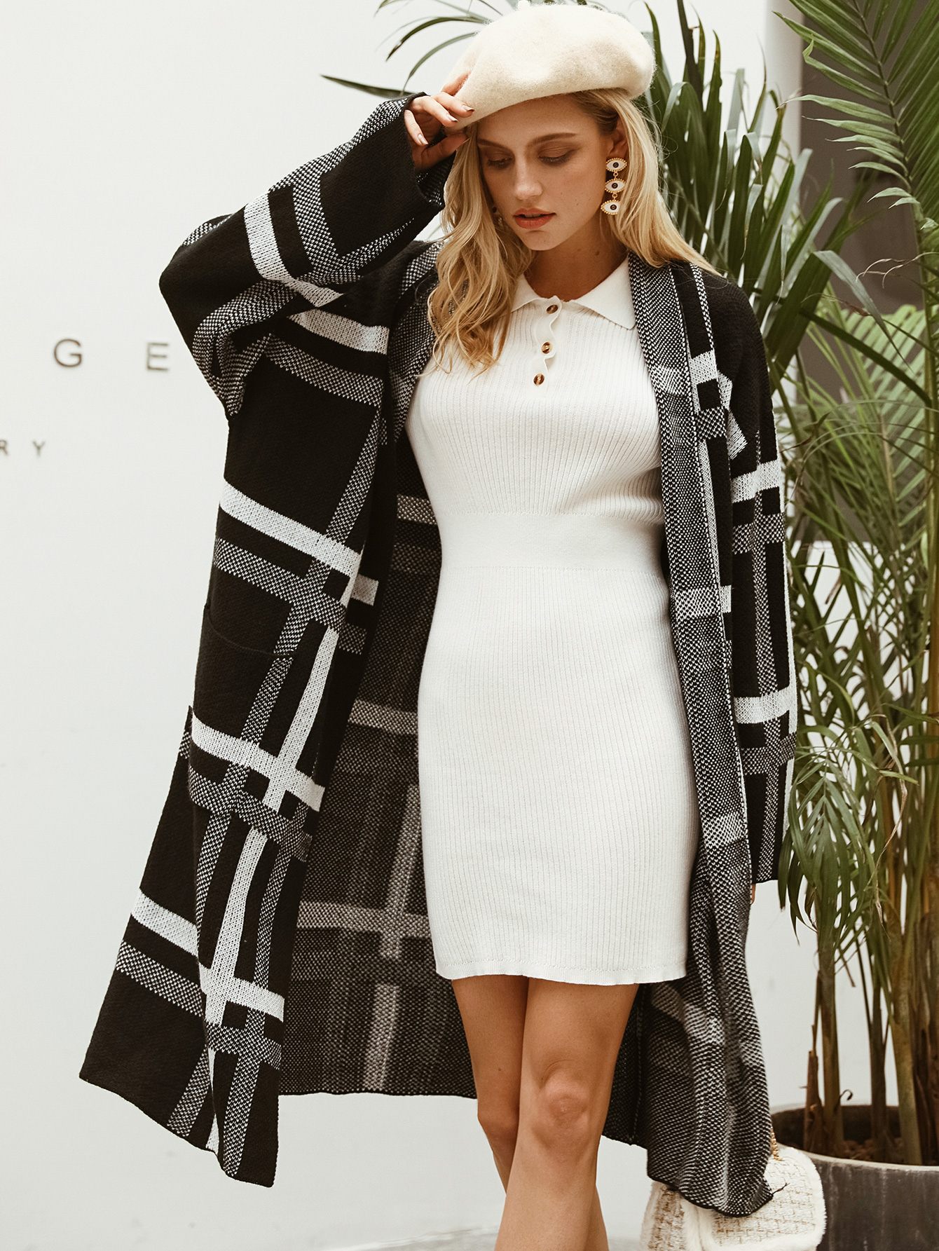 Black plaid long knitted sweater coat wholesale women's fashion clothing NHDE195843