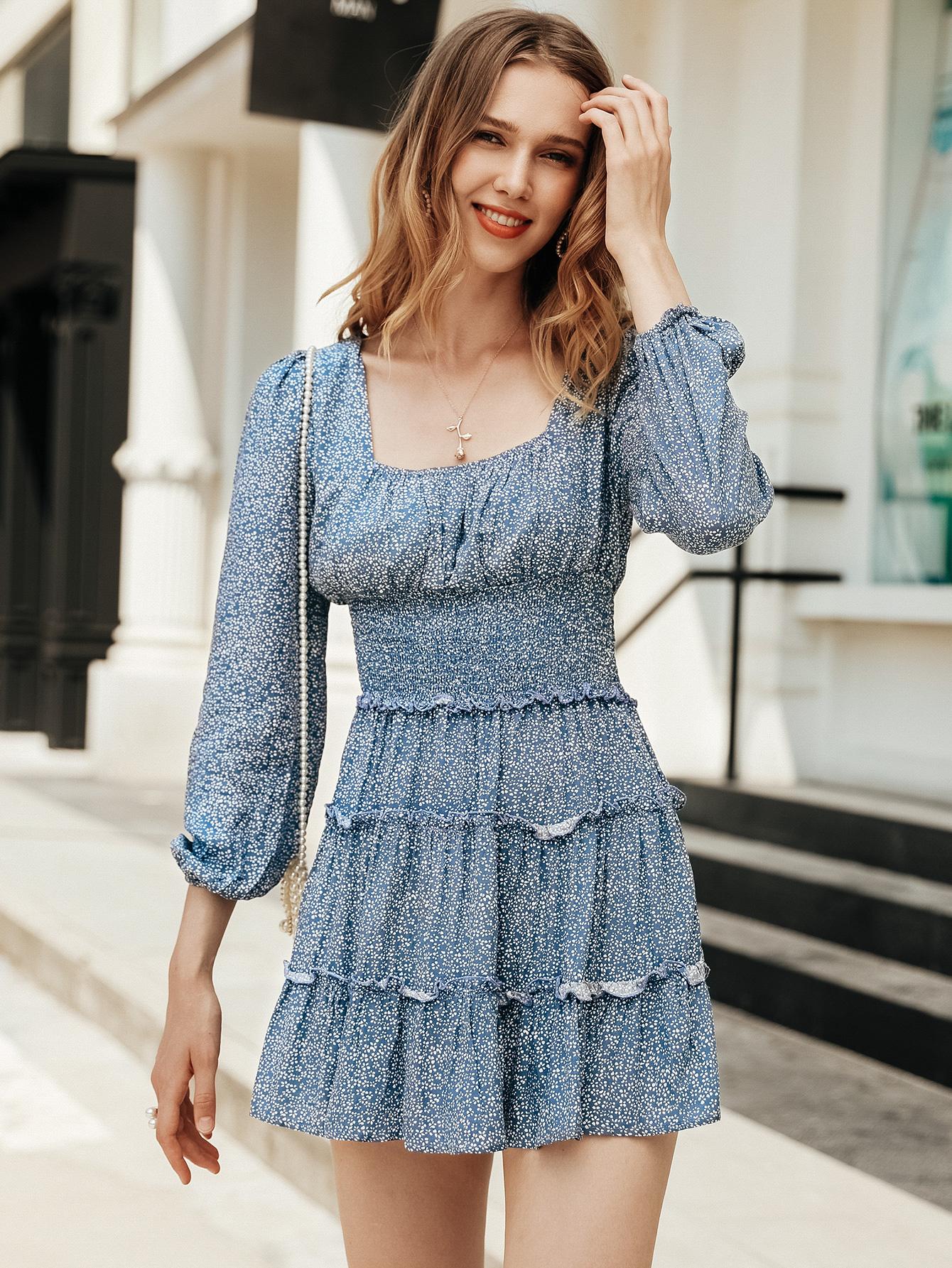 Sweet blue lace dress throughout women's fashion clothing NHDE195848