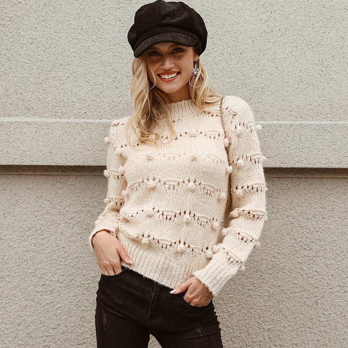 Cute apricot wool ball sweater wholesale women's fashion clothing NHDE195874