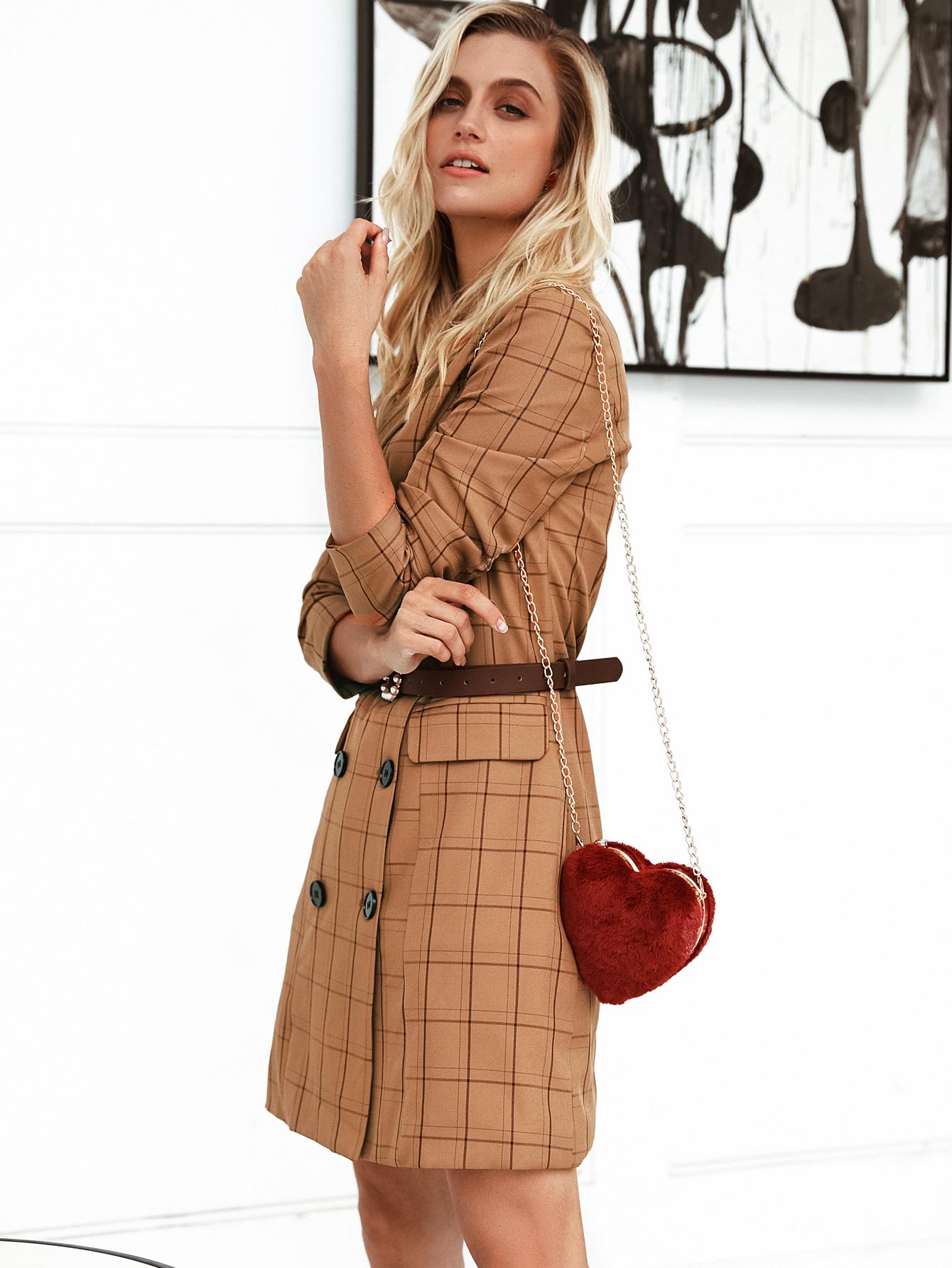 Sexy khaki checked coat wholesale women's fashion clothing NHDE195876