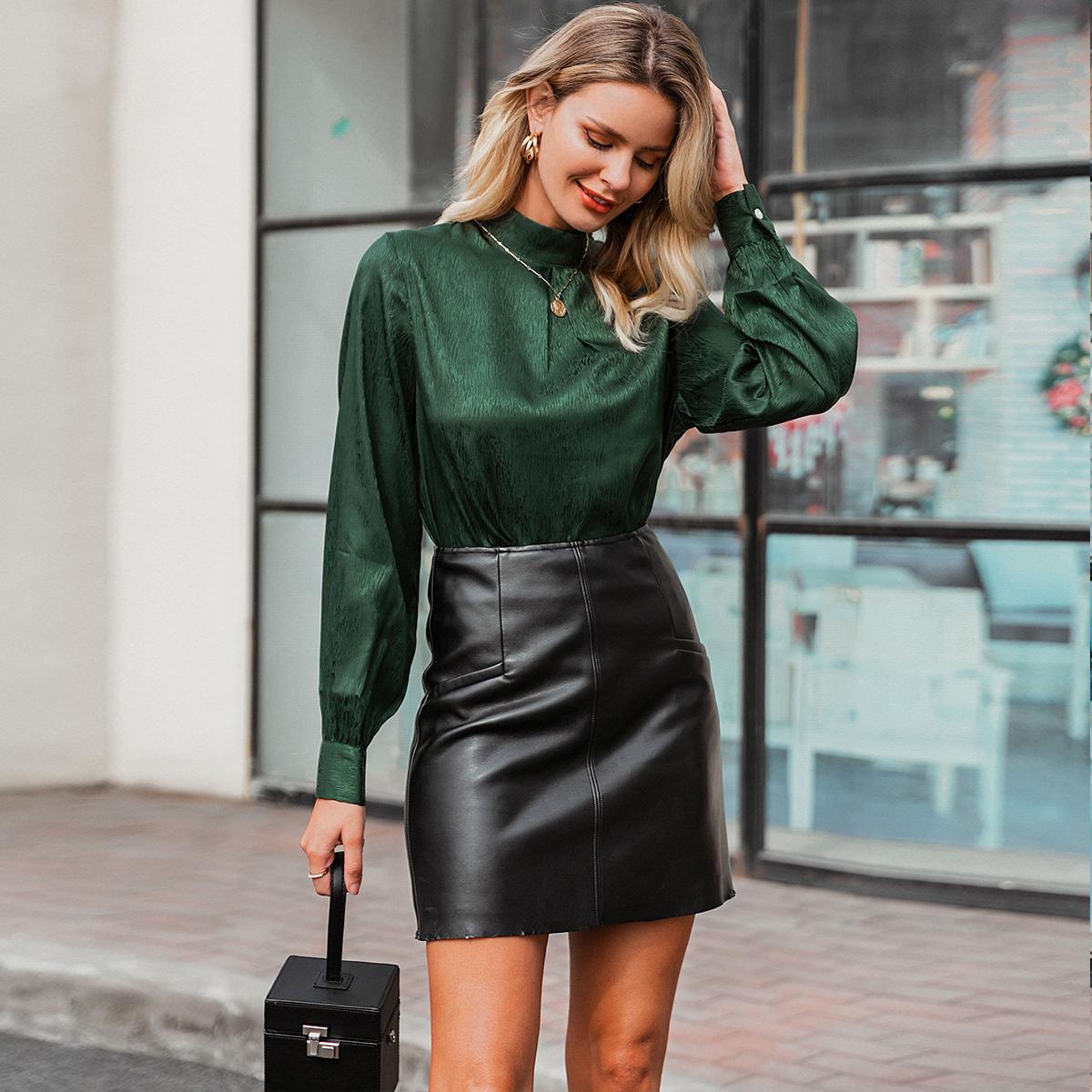 Dark green satin sexy blouse wholesale women's fashion clothing NHDE195889