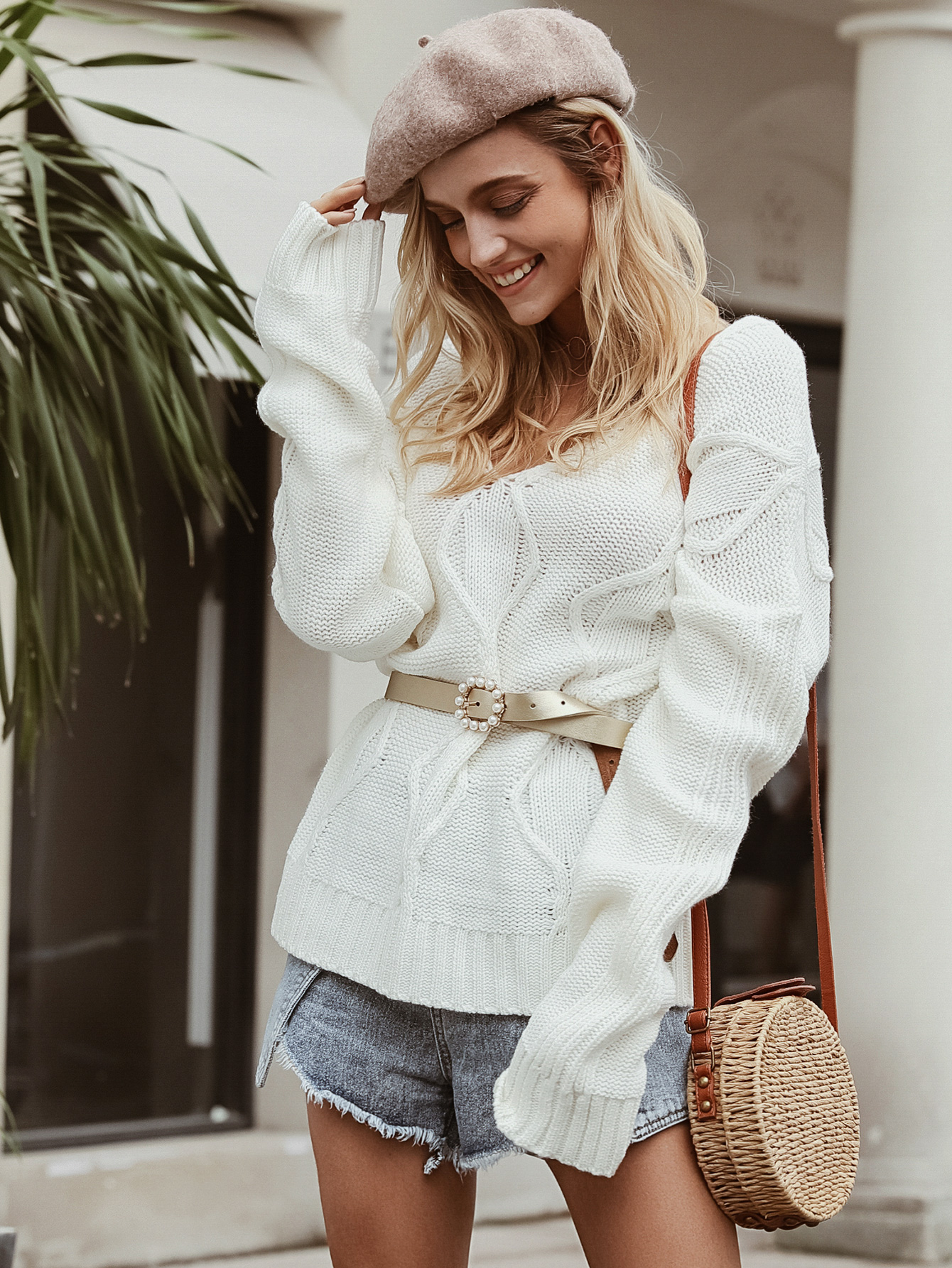 Simple white knitted sweater wholesale women's fashion clothing NHDE195894