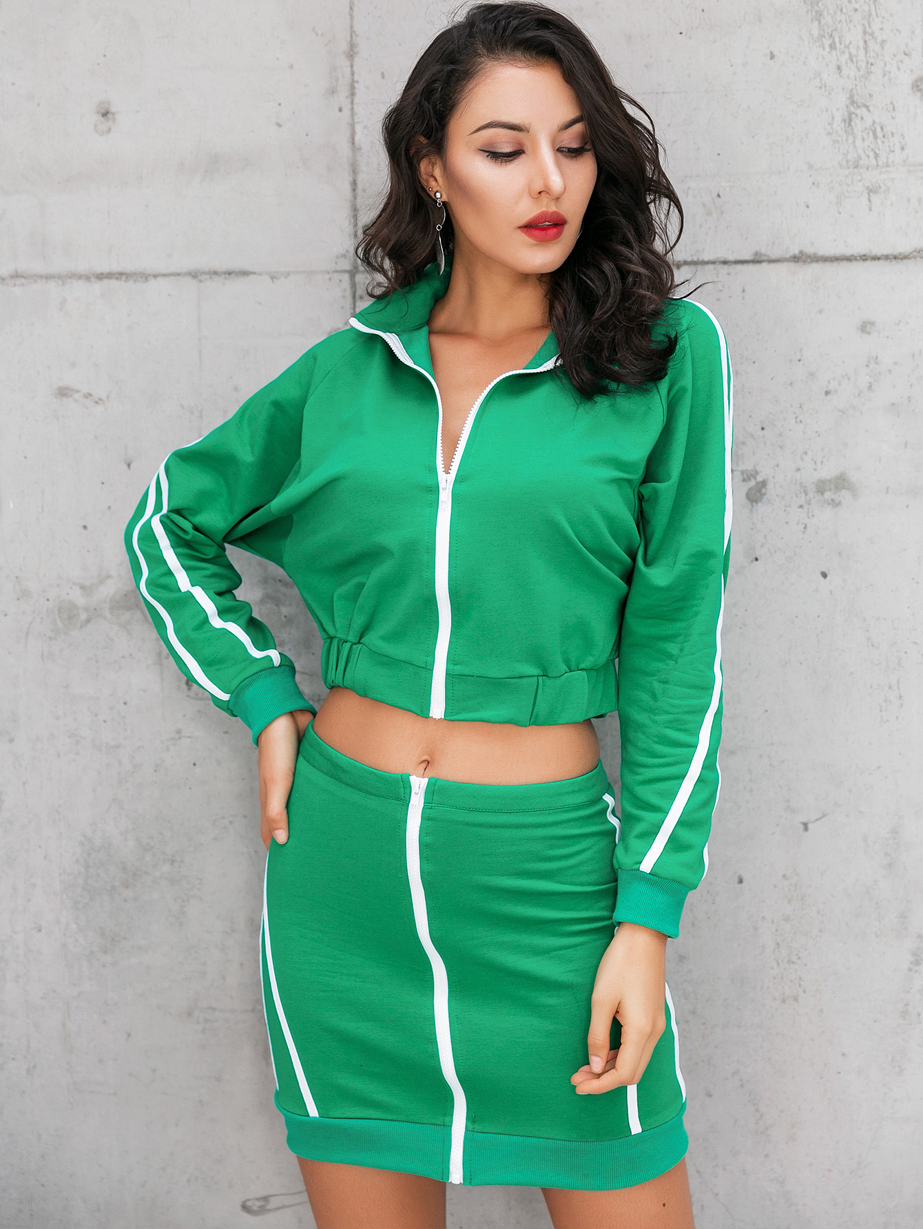 Bare Navel Simple Sports Suit Wholesale Fashion Women's Clothing NHDE195899