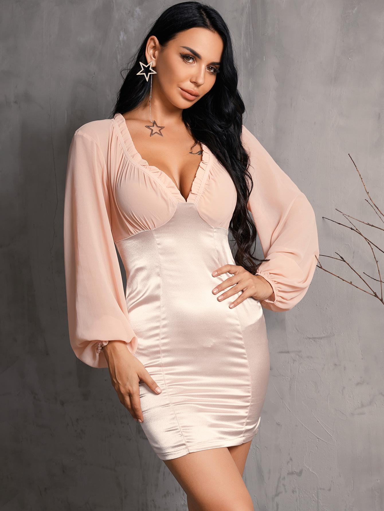 Sexy V-neck Pink Dress Long Sleeve Wholesale Fashion Women's Clothing NHDE195900