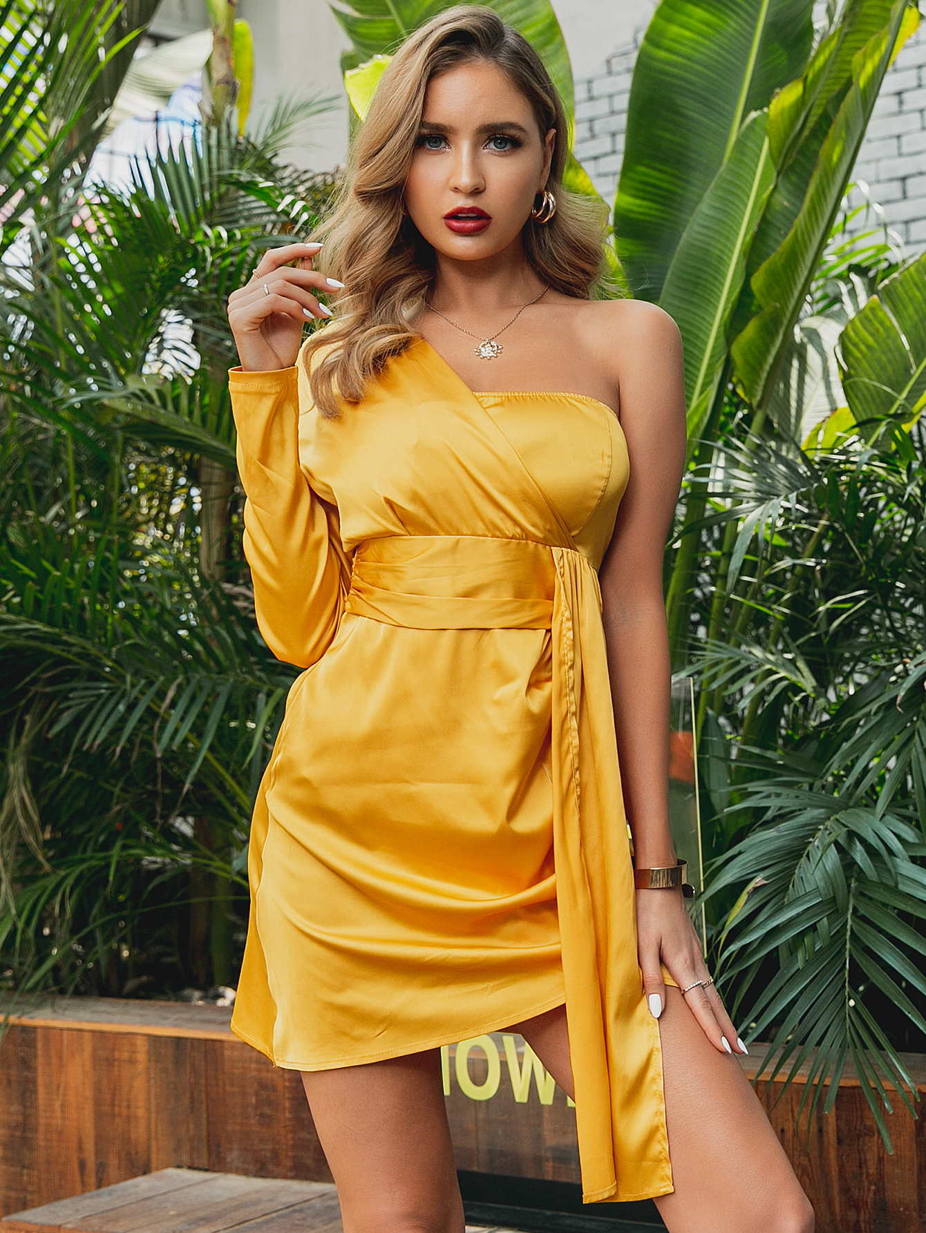 Bright Yellow Bandeau Dress Wholesale Fashion Women's Clothing NHDE195923