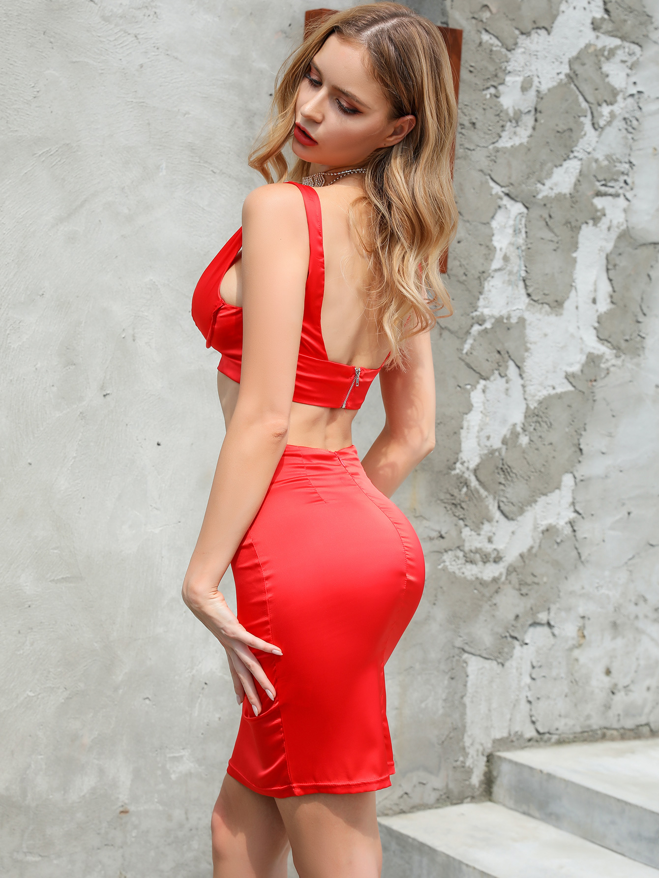 Red Tube Top Skirt Sexy Set Wholesale Fashion Women's Clothing NHDE195930