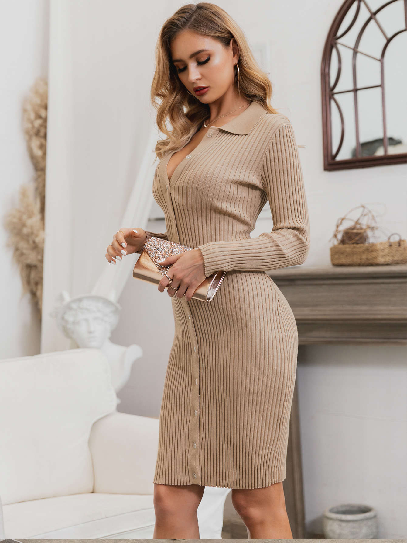 Lapel Long Sleeve Simple Solid Color Dress Wholesale Fashion Women's Clothing NHDE195954