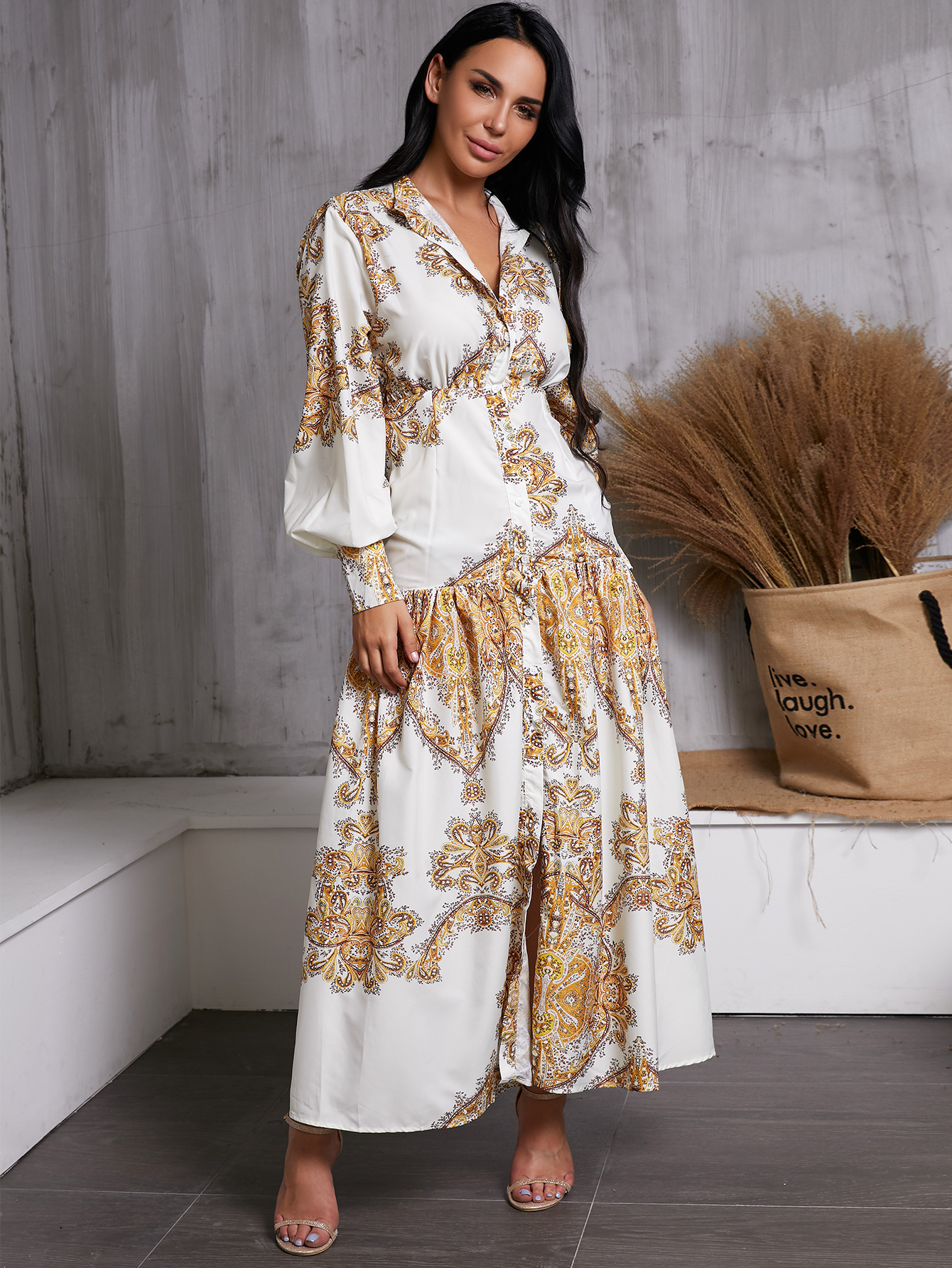 Elegant Sleeveless V-neck Printed Dress on White NHDE195965