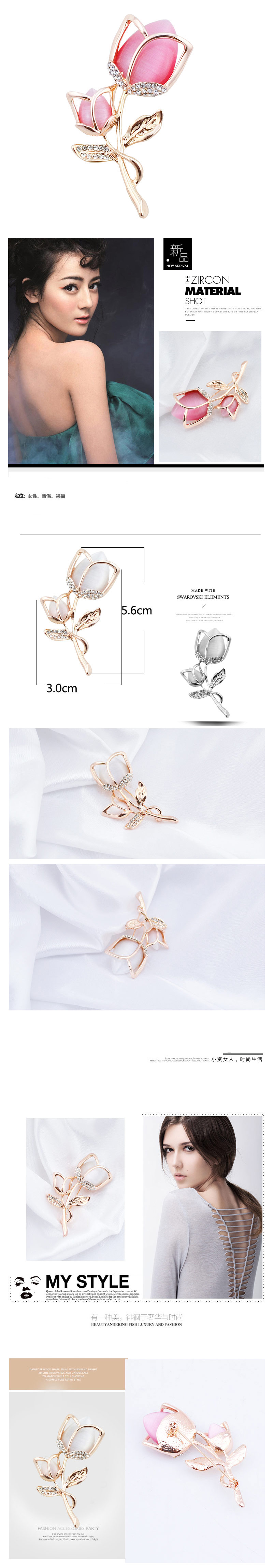Exquisite European and American fashion Korean style diamond opal tulip personalized temperament brooch NHSC193573