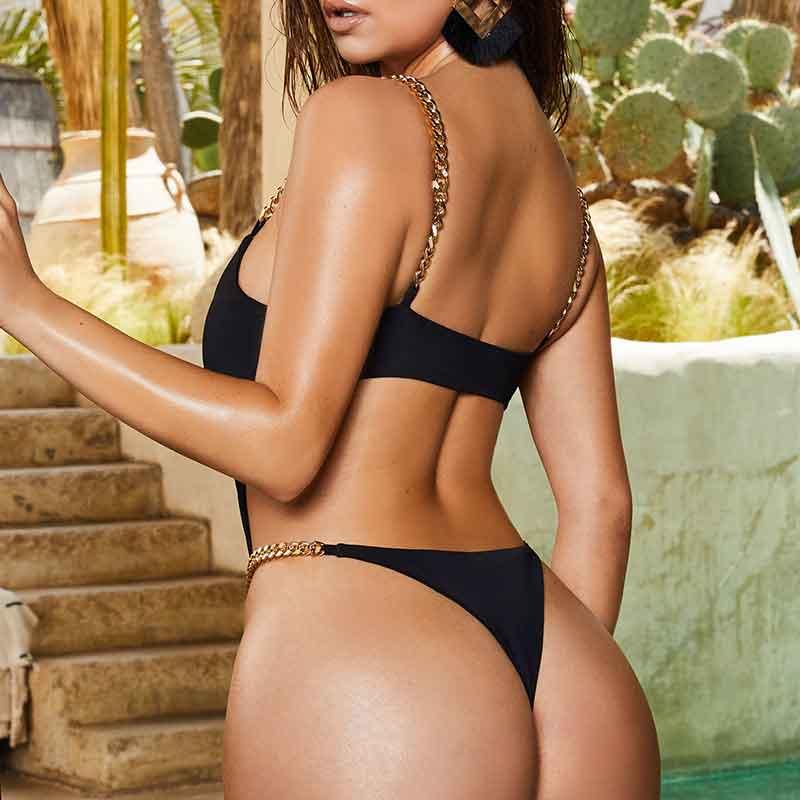 Black sexy bikini wholesale women's swimsuit NHDE193142