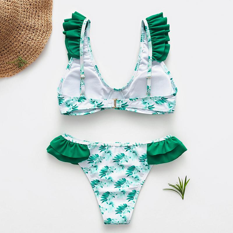 Green printed monokinis sexy bikini wholesale women's swimsuit NHDE193148