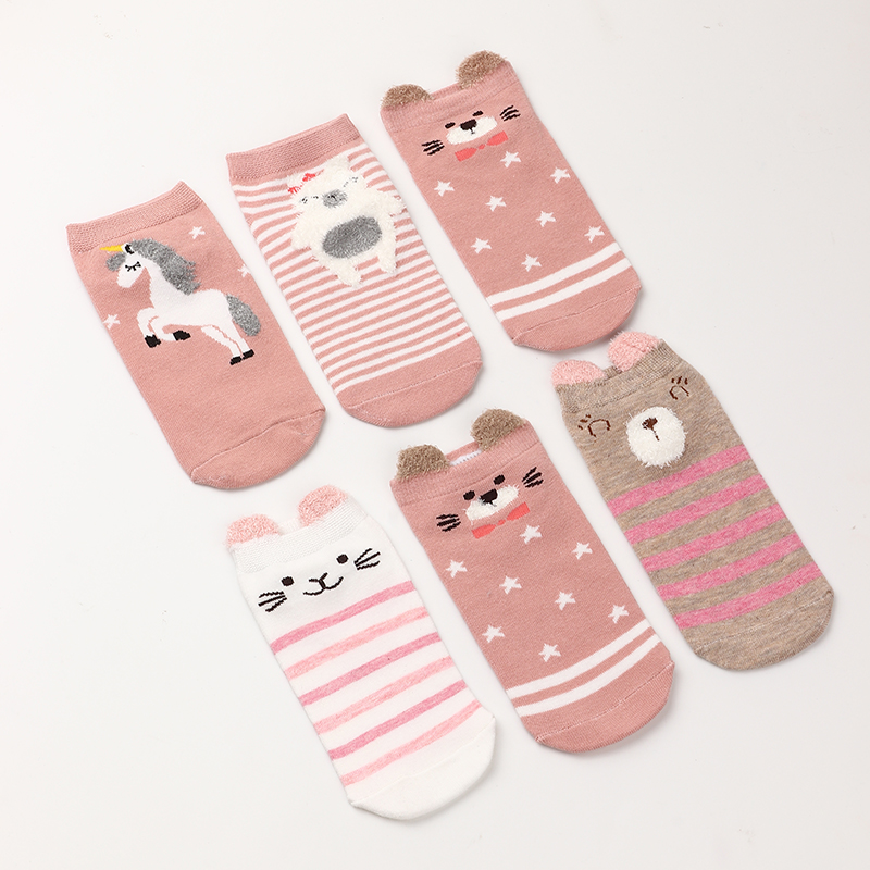 tube socks pink cartoon animal cute  tube flat socks NHNU272495