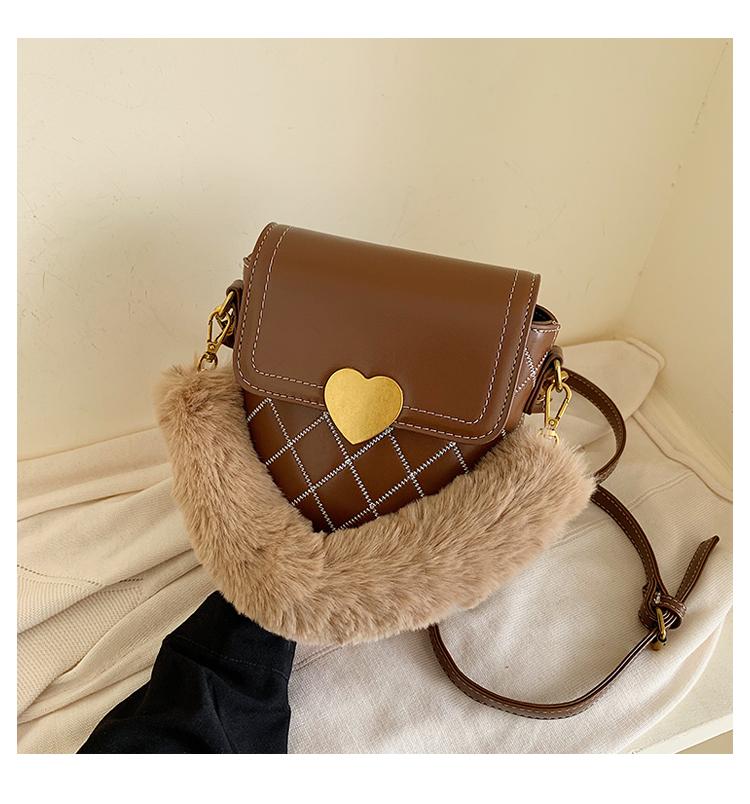 new trendy embroidery thread rhomboid fur messenger bucket bag NHJZ272538