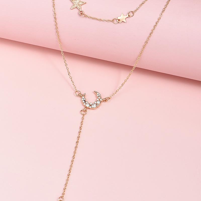 Multilayer diamond moon star pendant women's necklace  NHAJ272562