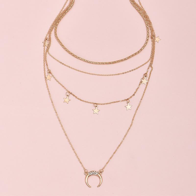 creative stars  moon pendant multilayer women's necklace NHAJ272561