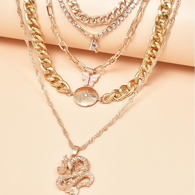 fashion dragon multilayer womens necklace  NHAJ272557