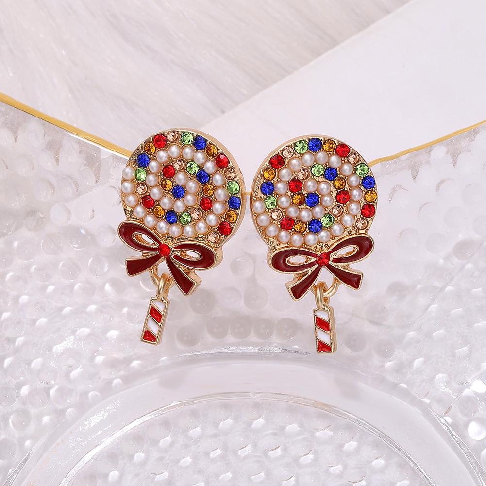 fashion  pearl colored diamonds lollipop earrings NHJQ273512
