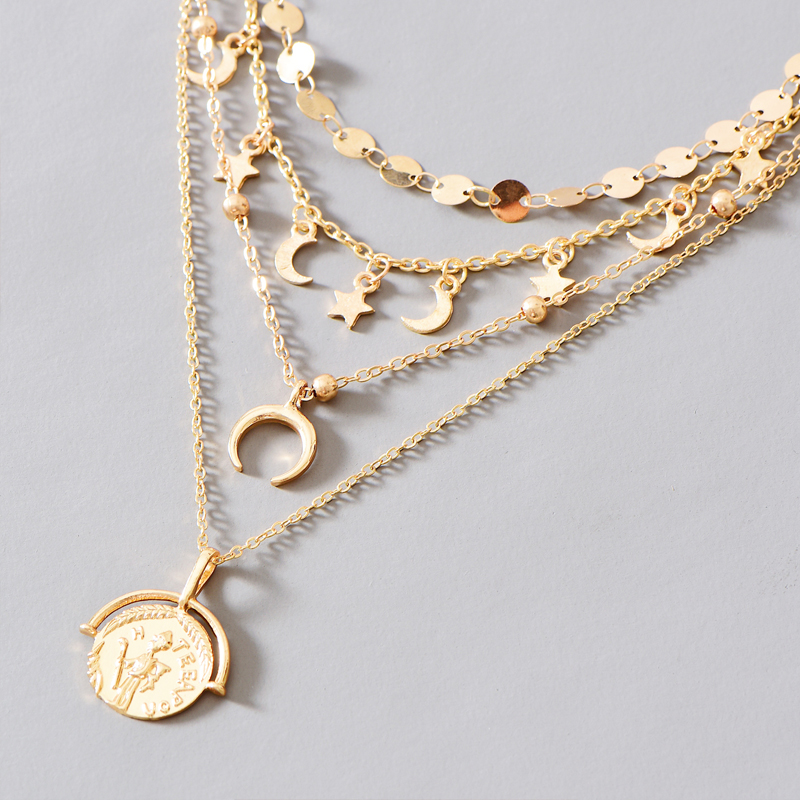 new star and moon pendant necklace  NHOT274469