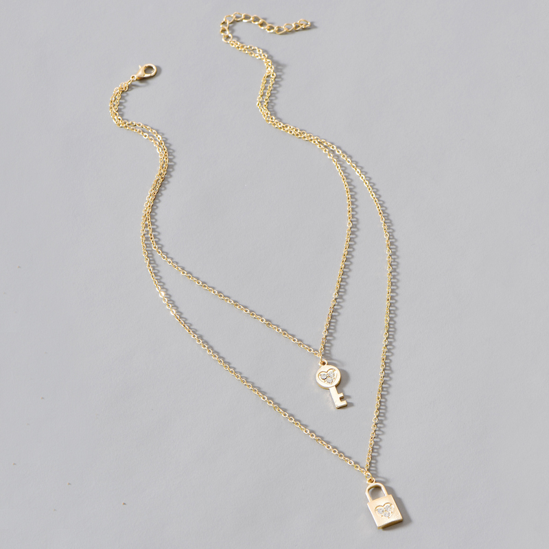 new key lock two-layer necklace NHOT274460