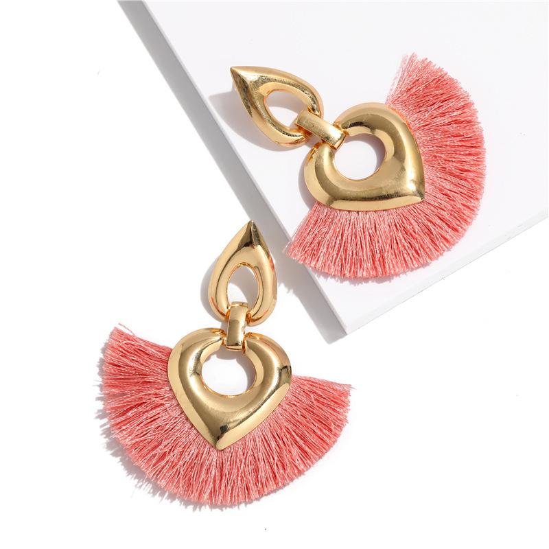 bohemian exaggerated multi-layer heart-shaped braided tassel earrings  NHQC275798