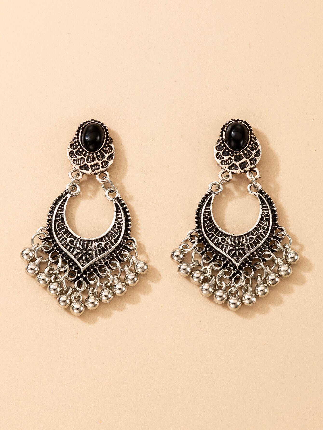 fashion exaggerated new geometric small bells tassel earrings NHGY267324