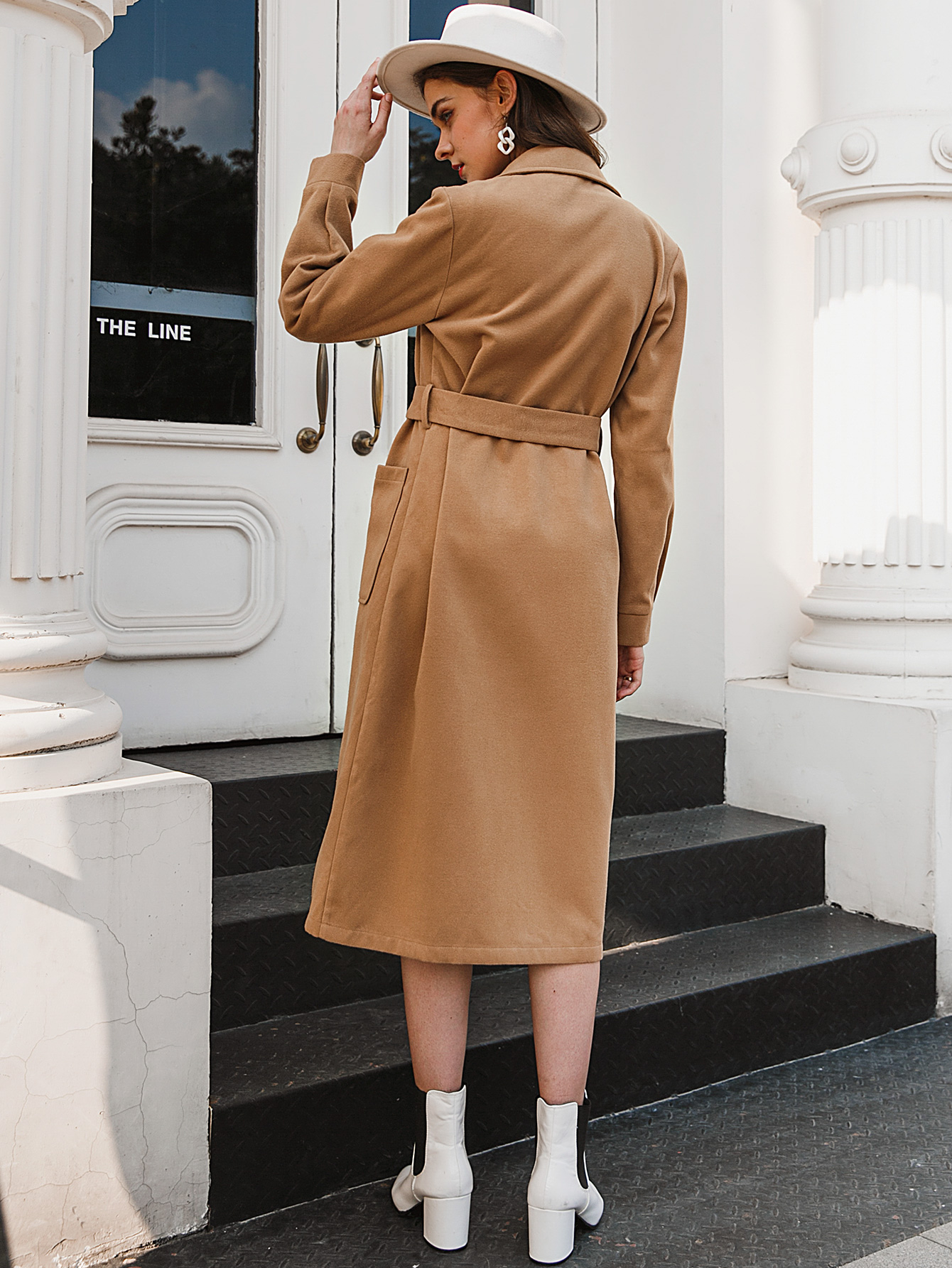 New fashion solid color long trench coat NHDE281691