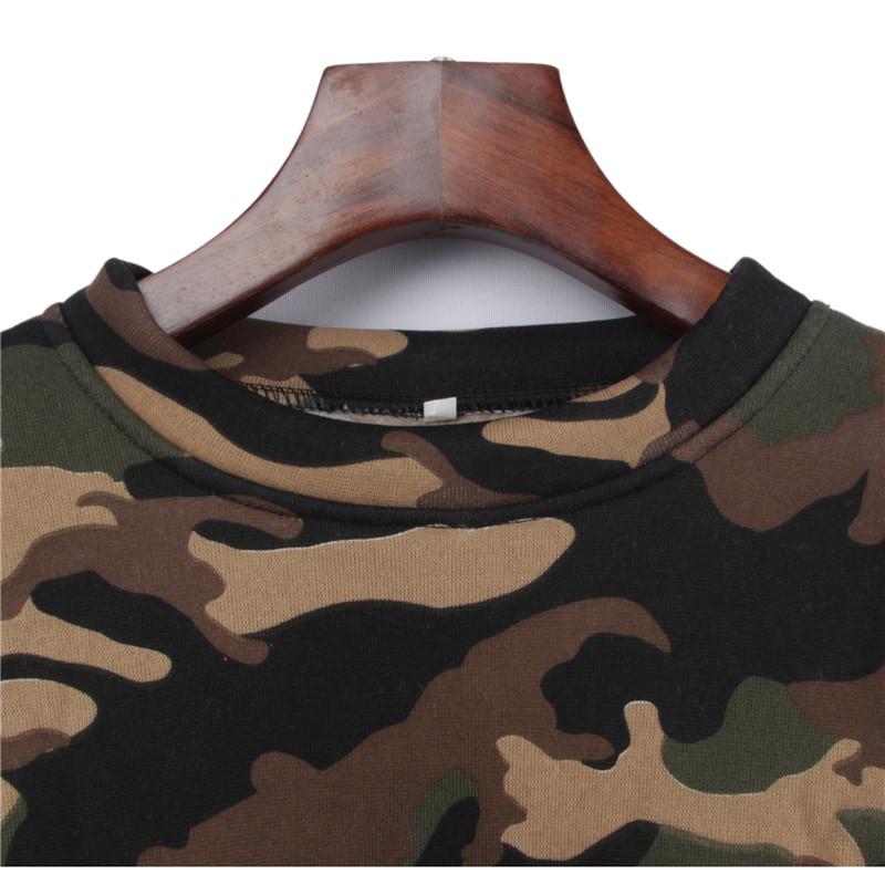 short round neck sweater camouflage sports suit  NHEK282626