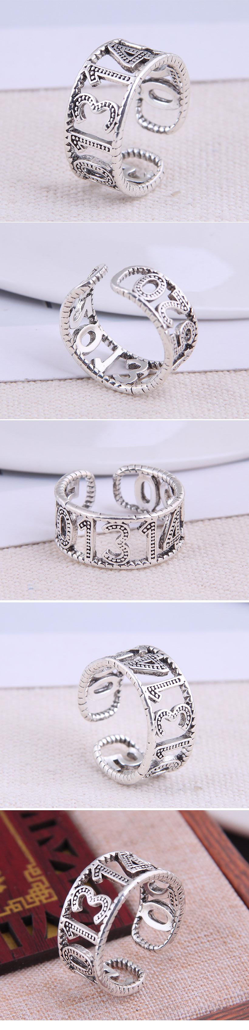 Fashion Retro Love Logo Open Ring NHSC283060