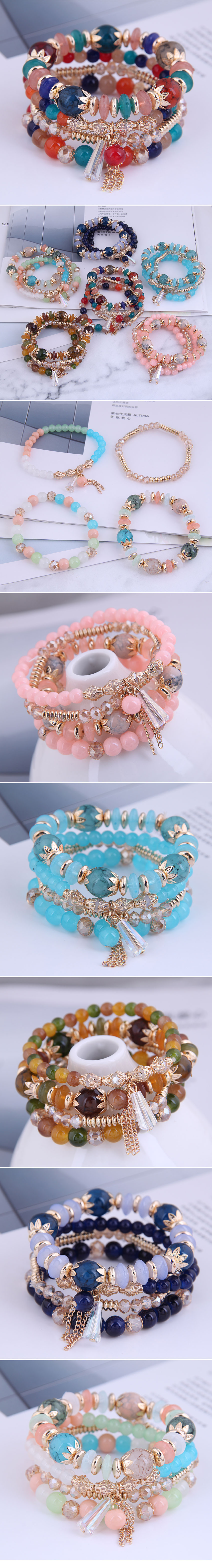 fashion simple crystal beads multilayer bracelet NHSC284791