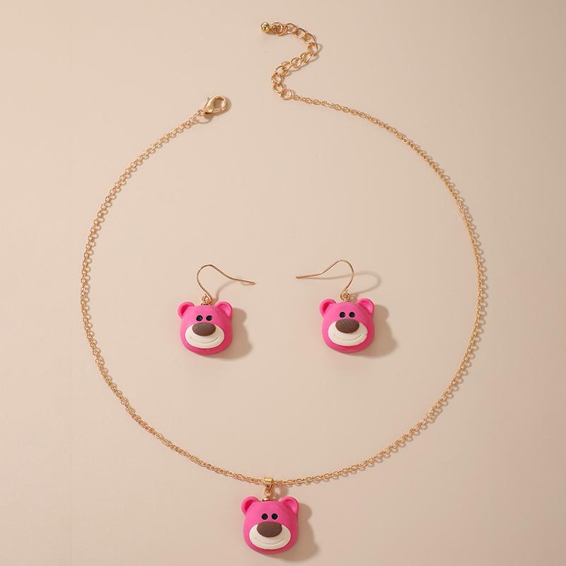 Retro Cute Cartoon Bear Earring Necklace Three Piece Set  NHGY284758