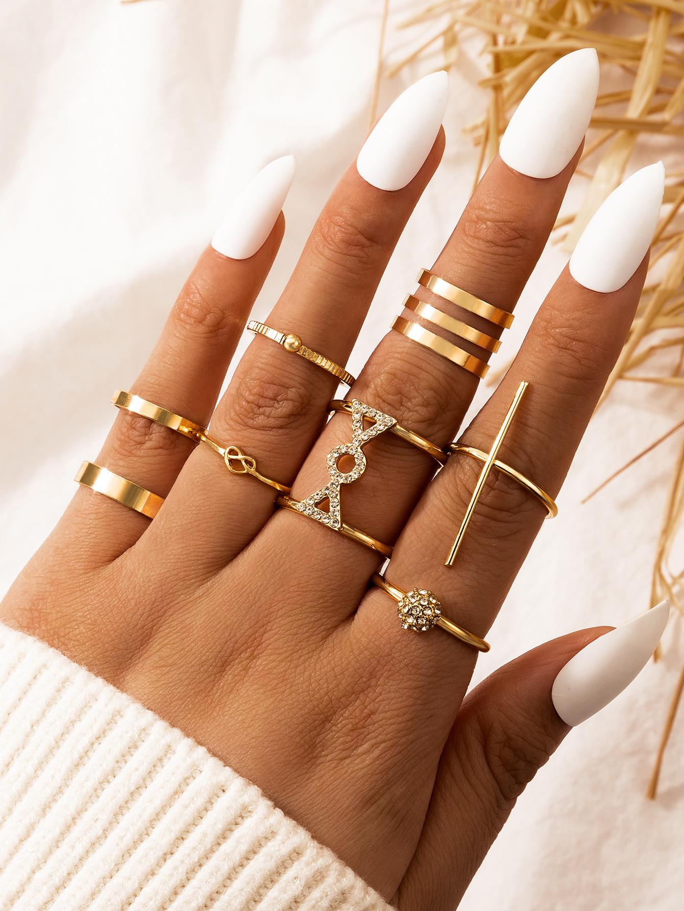 Fashion romantic punk hip-hop metal alloy rings set NHGY285682